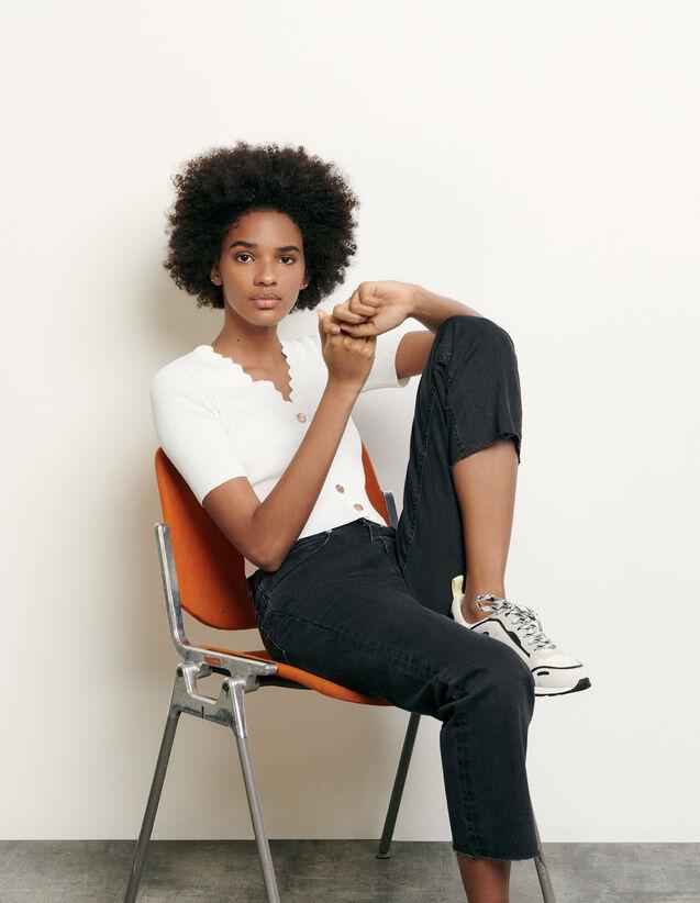 Pull en maille et boutons fantaisie : Pulls & Cardigans couleur Noir