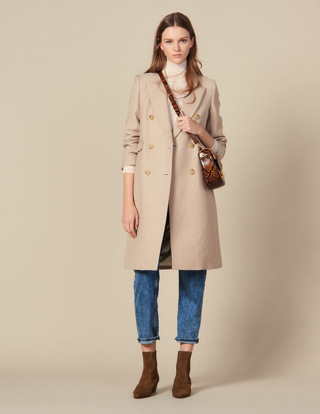 Manteau En Laine À Double Boutonnage : FBlackFriday-FR-FSelection-PAP&ACCESS couleur Beige