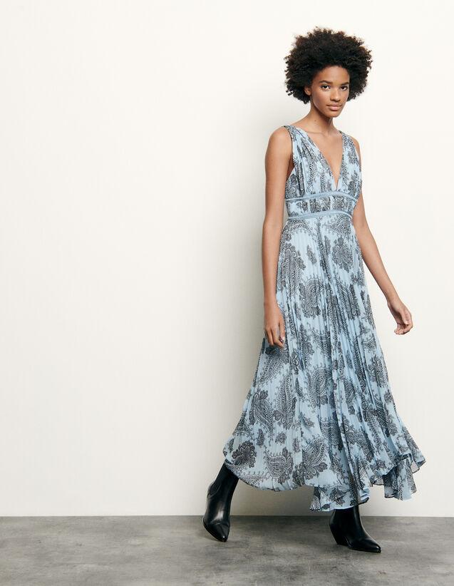 Robe longue en mousseline imprimée : FNouvelle-Collection-Ete couleur Bleu