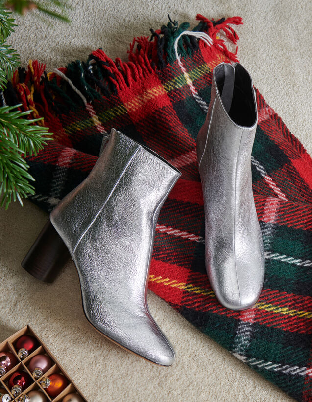 Metallic leather ankle boots : All Shoes color Silver