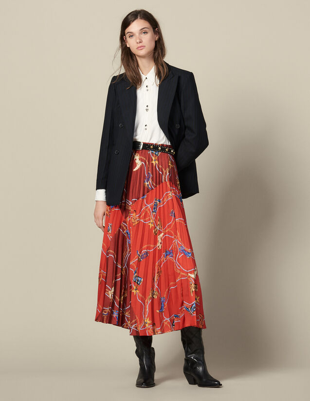 Printed Long Skirt With Pleats : Skirts & Shorts color Red