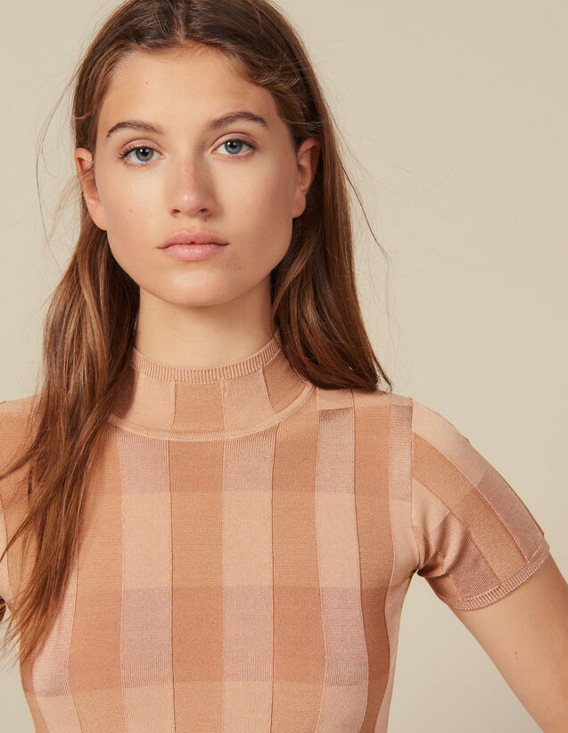 Short-Sleeved Funnel Neck Sweater : New In color Nude