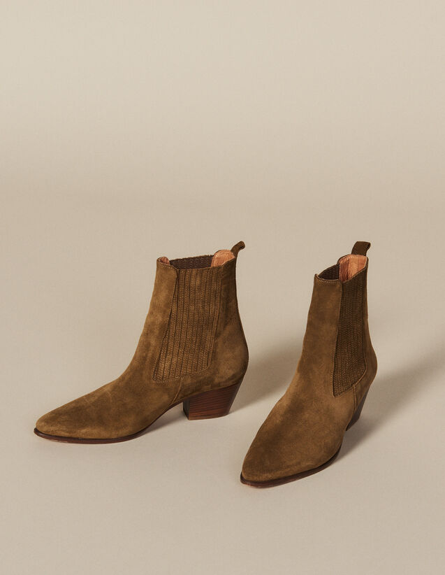 Leather Ankle Boots With Elastic : New In color Olive Green