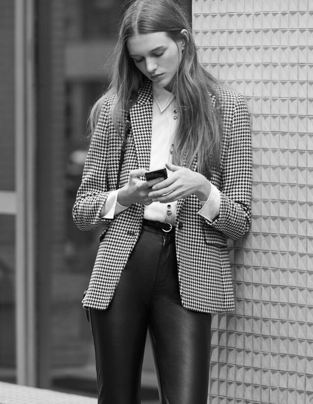 Houndstooth Check Tailored Jacket : Blazers & Jackets color Black