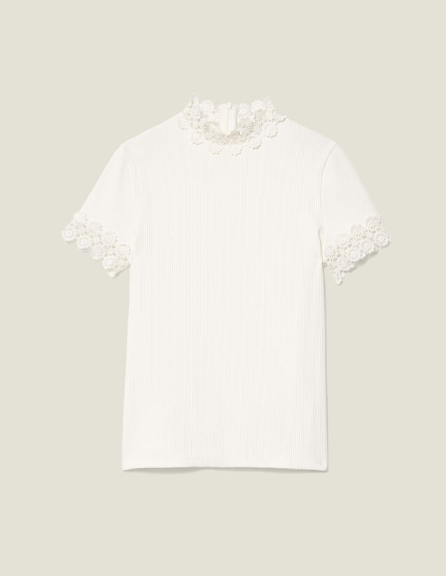 High-Neck T-Shirt Edged With Guipure : T-shirts color Ecru
