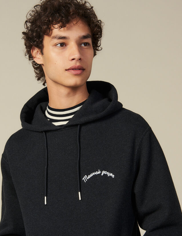 Hoodie With Lettering Embroidery : Winter Collection color Dark Grey