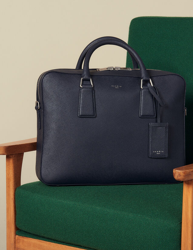 Saffiano Leather Briefcase : All Leather Goods color Navy Blue