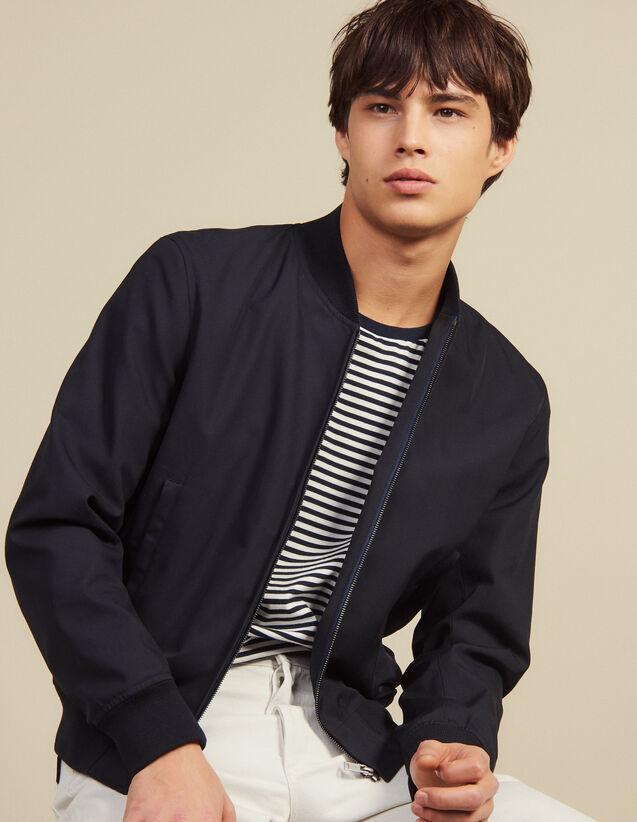 Cotton Teddy-Style Jacket : Blazers & Jackets color Navy Blue
