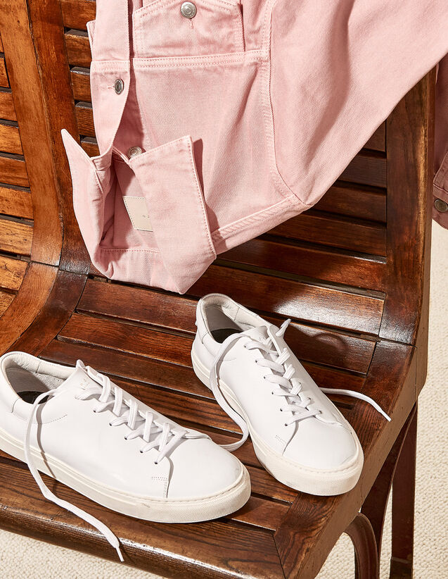 Flat Smooth Leather Trainers : All Selection color white