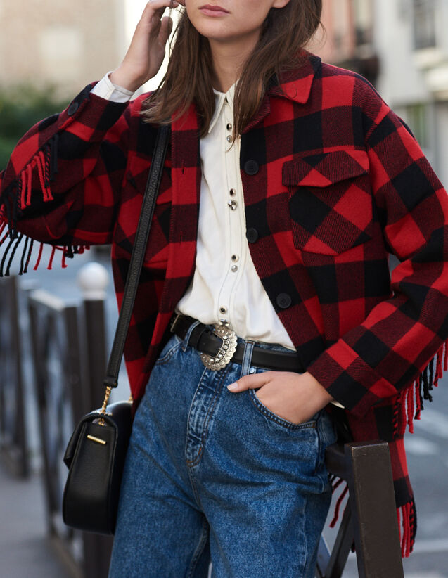 Oversized shirt jacket : Blazers & Jackets color Red/Black
