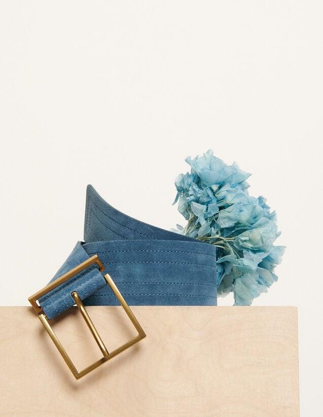 Ceinture large surpiquée : FNouvelle-Collection-Ete couleur Bleu Denim