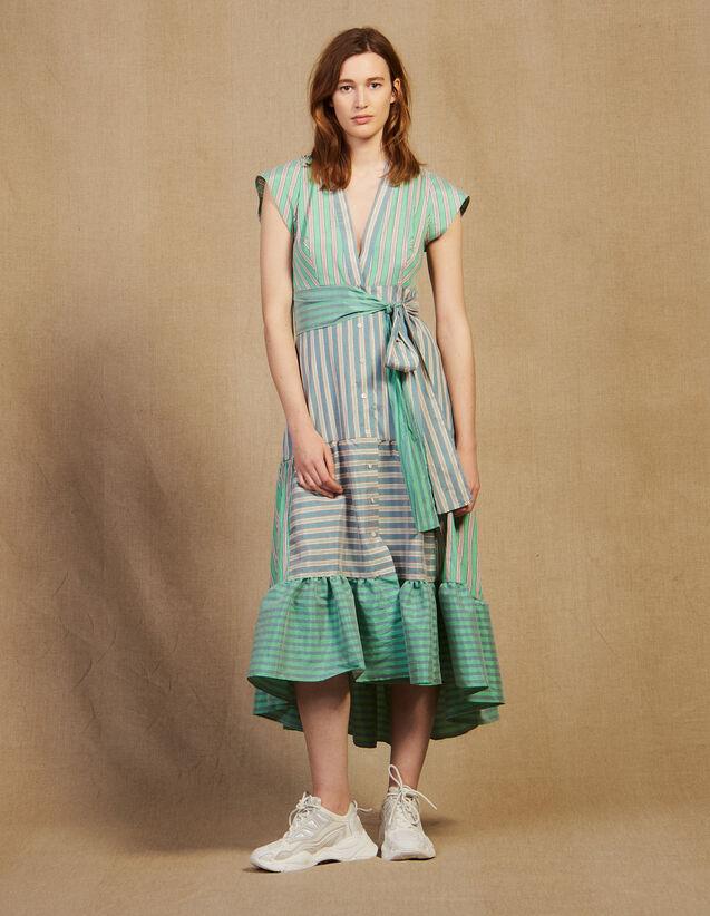 Stripy Wrap Dress : Dresses color Green