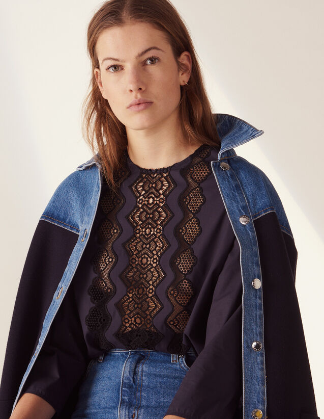 Long-Sleeved Top With Braid Trim : LastChance-FR-FSelection color Navy Blue