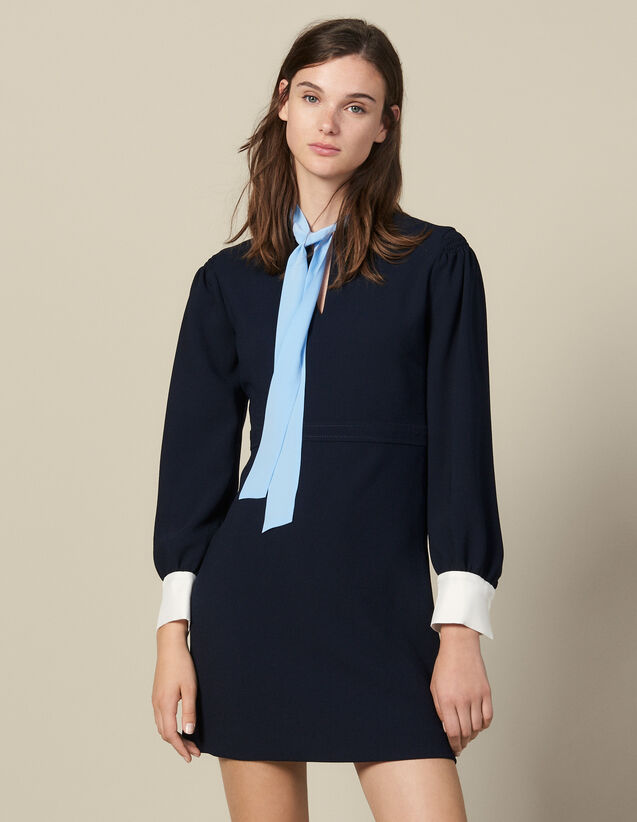 Short textured dress with pussy bow : FBlackFriday-FR-FSelection-30 color Navy Blue