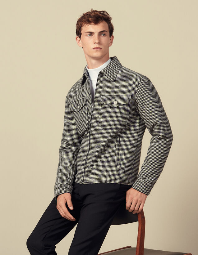 Houndstooth wool jacket : Blazers & Jackets color Black/White