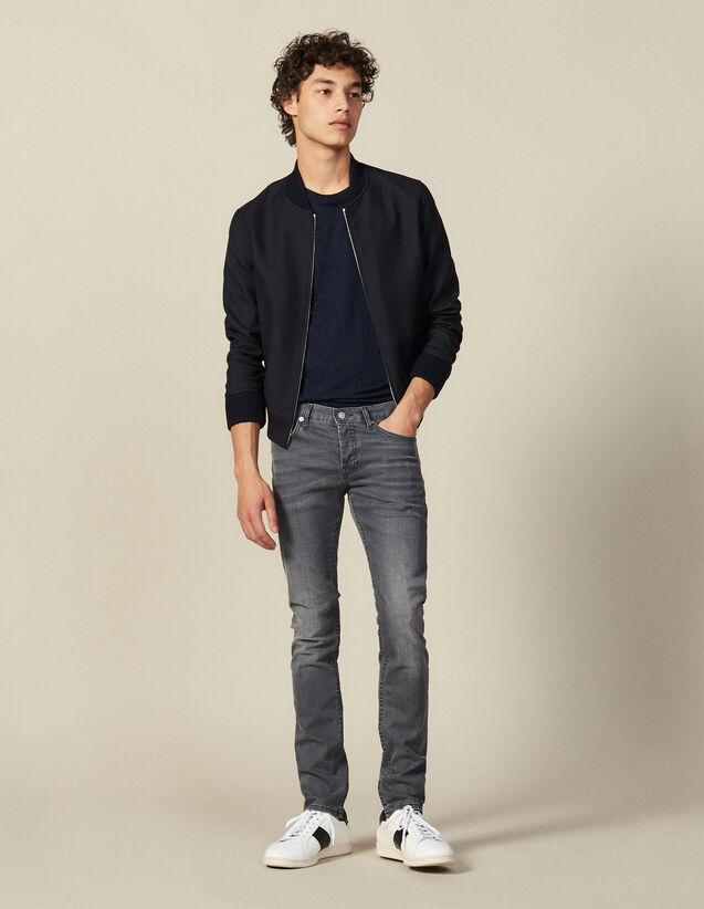 Washed grey jeans - Narrow cut : Jeans color Grey
