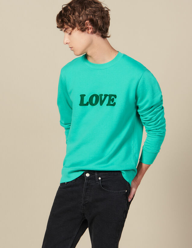 Sweatshirt With Lettering : Winter Collection color Light Green