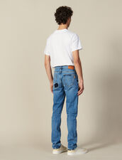 Destroyed Cotton Slim-Fit Jeans : All Winter collection color Blue Vintage - Denim