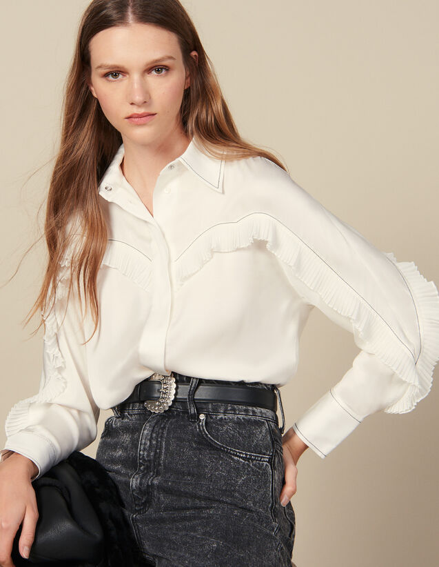 Shirt With Western-Style Cut-Outs : Copy of VP-FR-FSelection-Tops&Chemises color Ecru