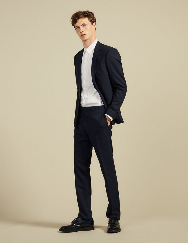 Slim Fit Wool Suit Trousers : Suits & Tuxedos color Navy Blue