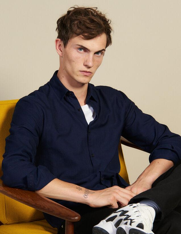 Shirt In Tone-On-Tone Herringbone Fabric : Shirts color Navy Blue