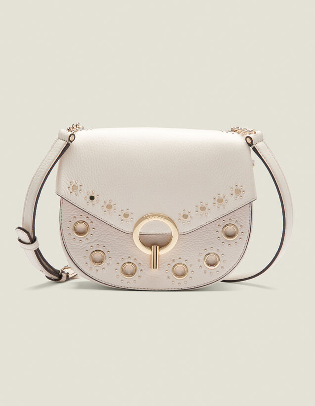 Pépita Bag, Medium Model With Studs : All Winter collection color Ecru