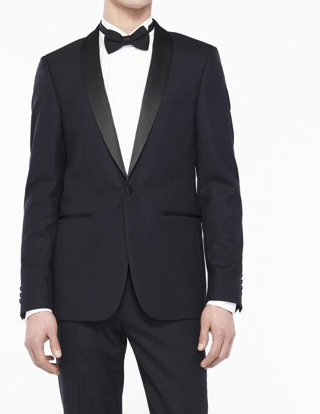 Slim Fit Tuxedo Jacket - Super 120s : All Selection color Navy Blue