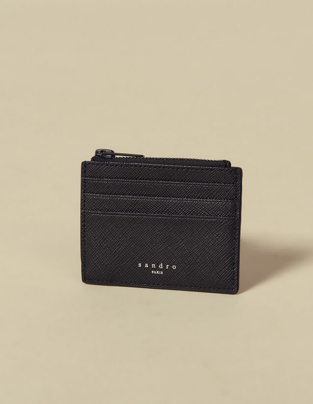 Saffiano Leather Zipper Card Holder : Card Holders & Wallets color Black