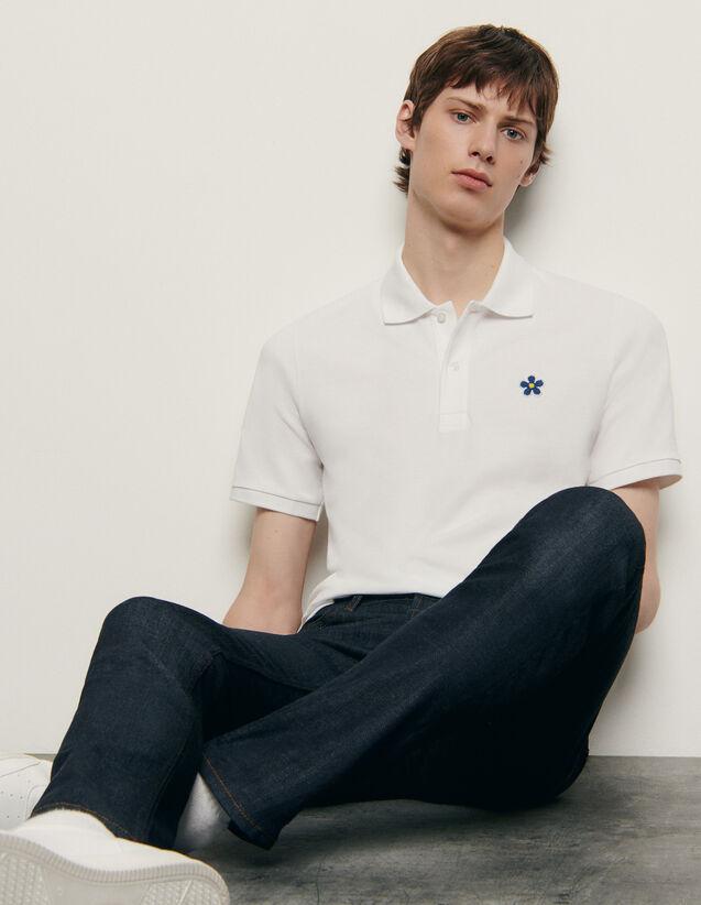 Polo en coton avec patch brodé : HCollection Ete couleur Marine