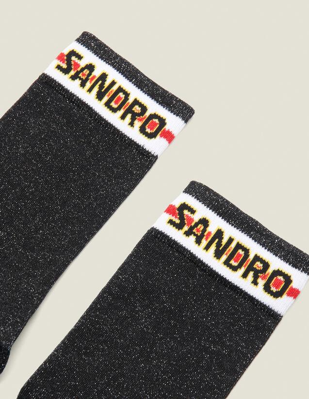 Chaussettes En Lurex Avec Logo Sandro : FCollection-Hiver-Acc couleur Noir