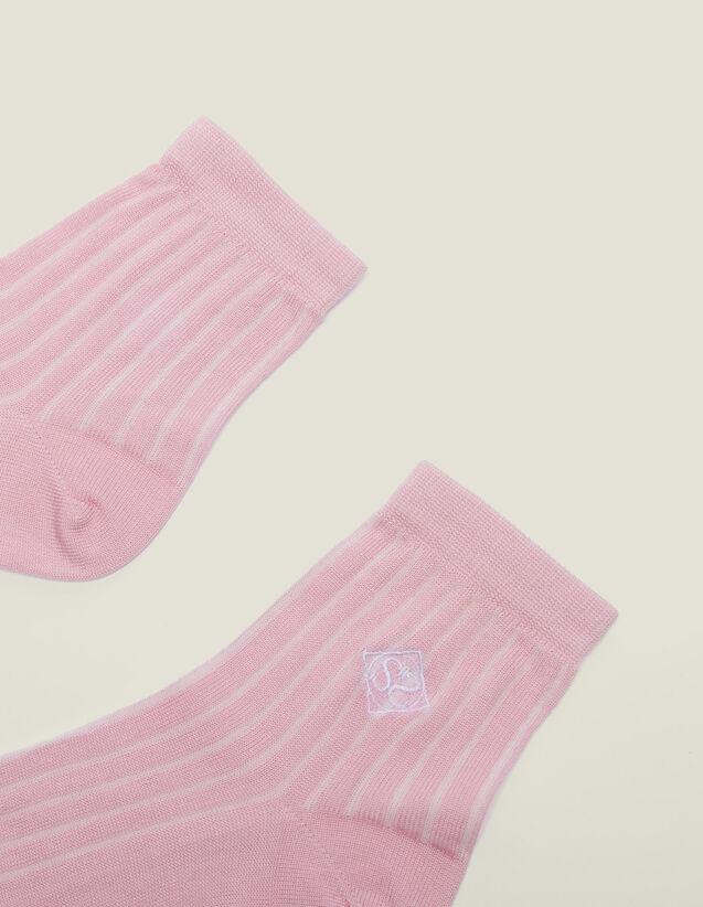 Embroidered Cotton Socks : Socks color Rose pastel