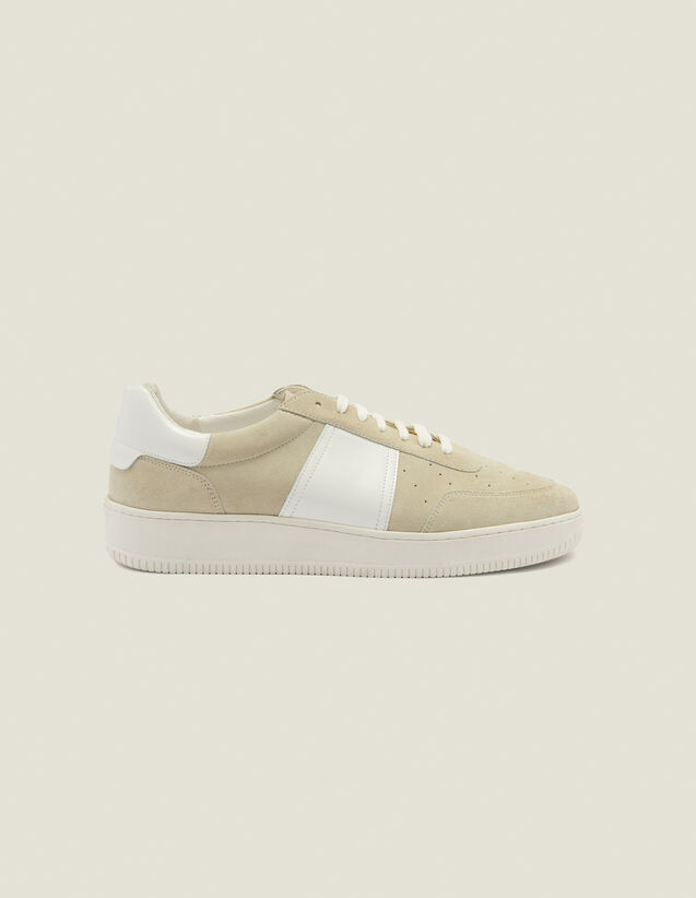 Leather trainers : Shoes color Ecru