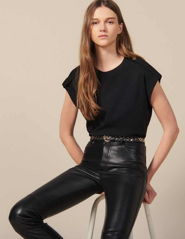 Loose-Fit T-Shirt With Tabs : New In color Black