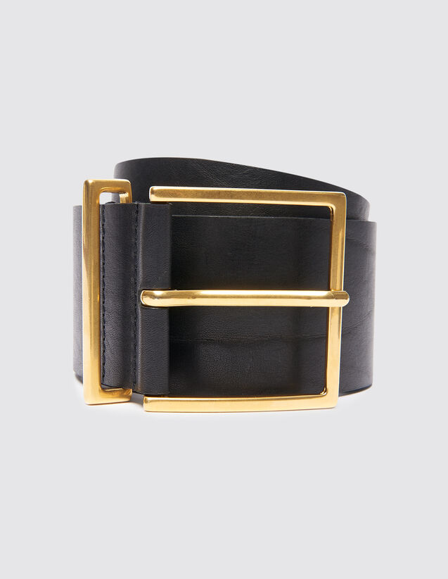 Wide Leather Belt : Belts color Black