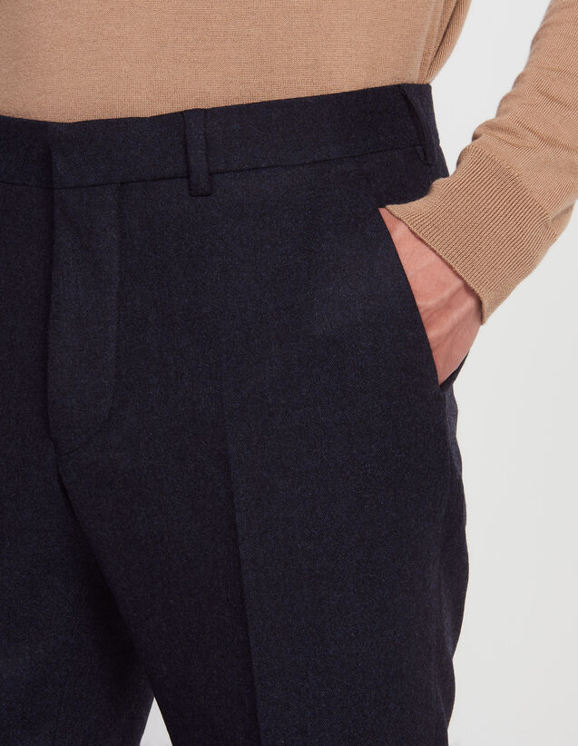 Slim fit trousers in Super 130's flannel : All Selection color Bluish Grey