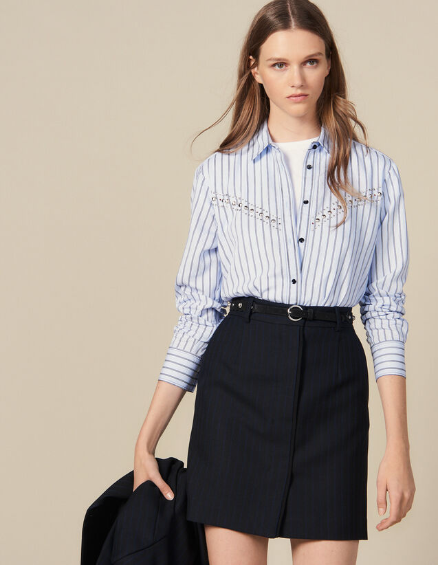 Pinstriped Tailored Short Skirt : Copy of VP-FR-FSelection-Jupes&Shorts color Black