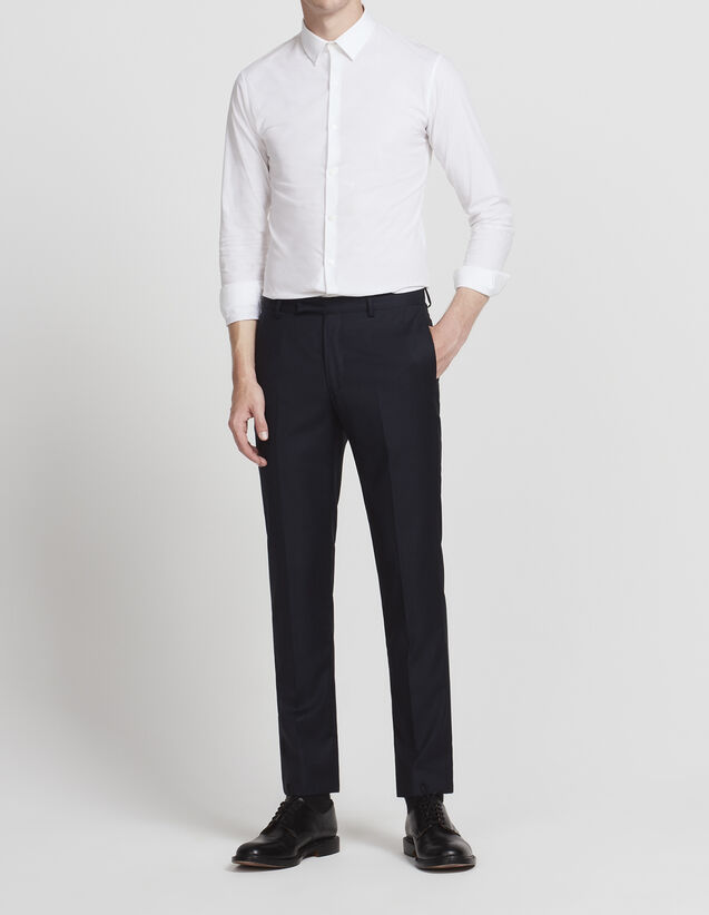 Slim fit trousers in super 100s wool : All Selection color Pétrol Blue