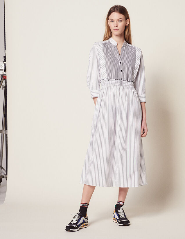 Striped Cotton Midi Dress : Dresses color white