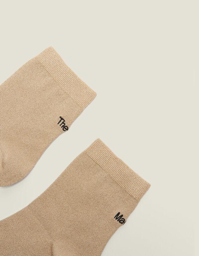 Lurex Embroidered Socks : Socks color Gold