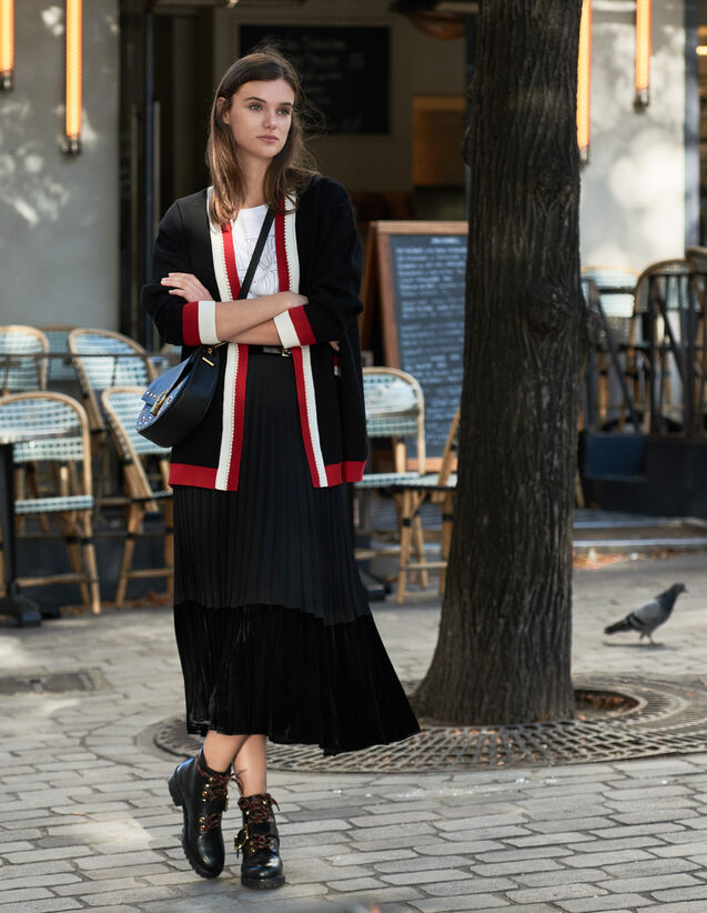 Cardi-Coat With Contrasting Stripes : Sweaters & Cardigans color Black