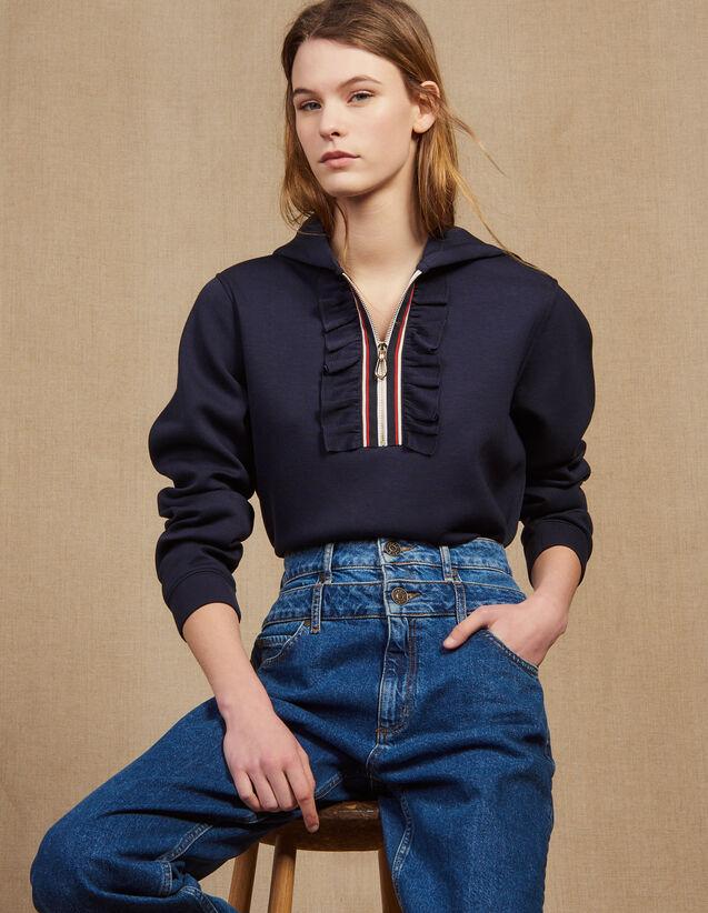 Hooded Sweatshirt With Braid Trim Zip : Sweatshirts color Navy Blue