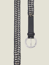 Wide Leather And Chain Belt : Belts color Black