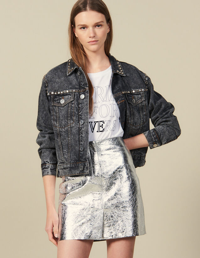 Short Silver Leather Skirt : New In color Silver