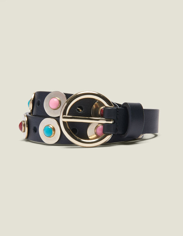 Belt With Decorative Beads : null color Black