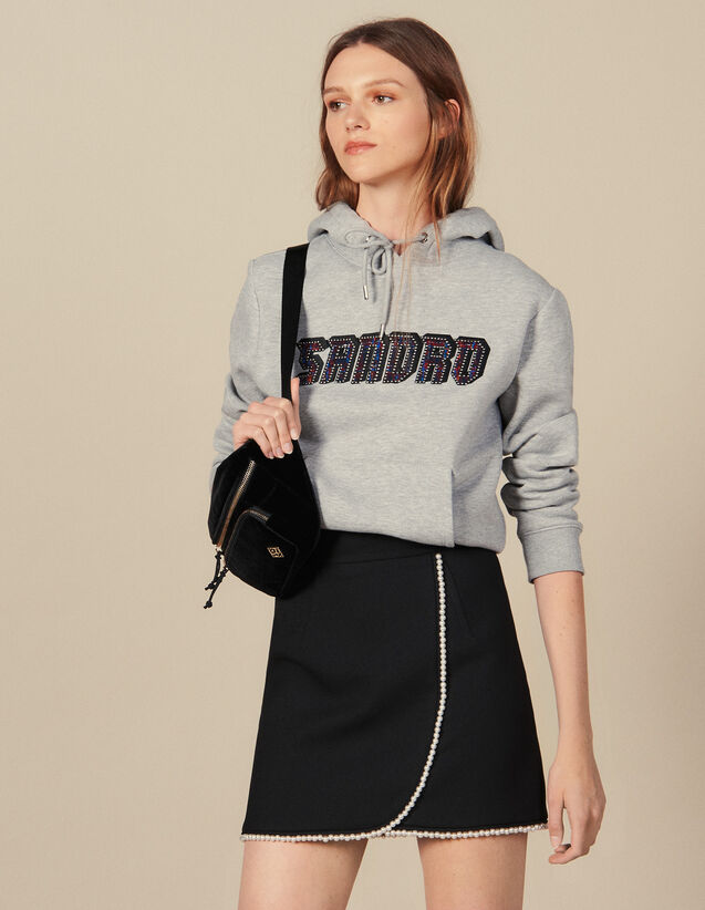 Short Skirt Embellished With Beads : Skirts & Shorts color Black