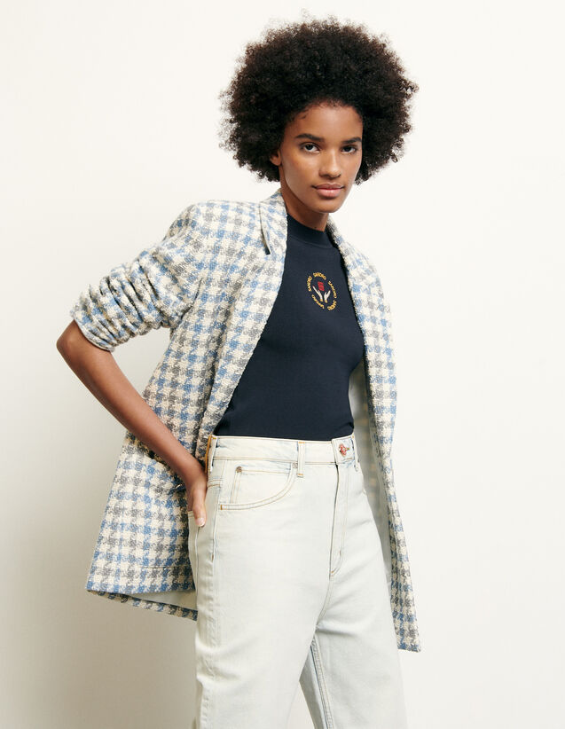 Tailored jacket in houndstooth tweed : New Summer Collection color Blue sky