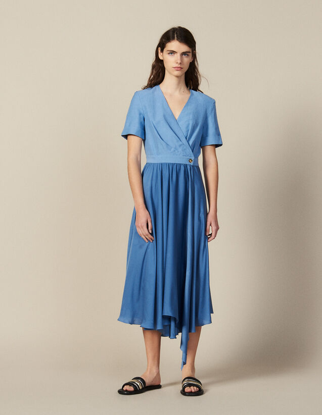 Mixed Material Wraparound Dress : Dresses color Blue
