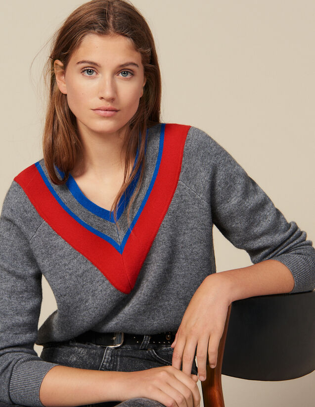 Low-Neck Sweater With Braid Trim : New In color Grey