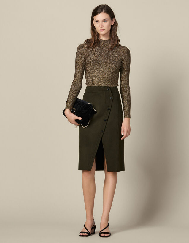Wool Wrapover Skirt With Slit : Skirts & Shorts color Olive Green