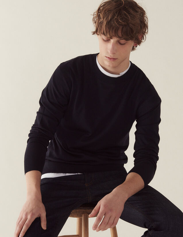 Merino wool sweater : Sweaters & Cardigans color Navy Blue